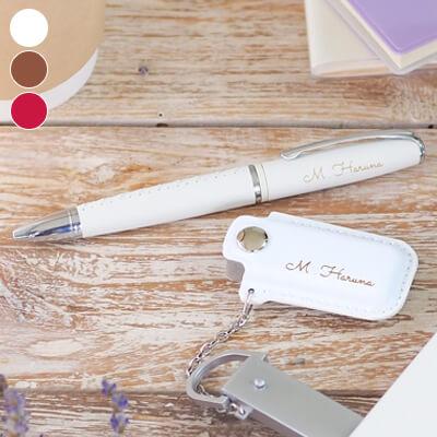 名入れOK! 編み上げレザーブーツペン × レザーカバー付USBセット