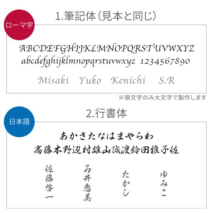 筆記体と行書体の書体見本