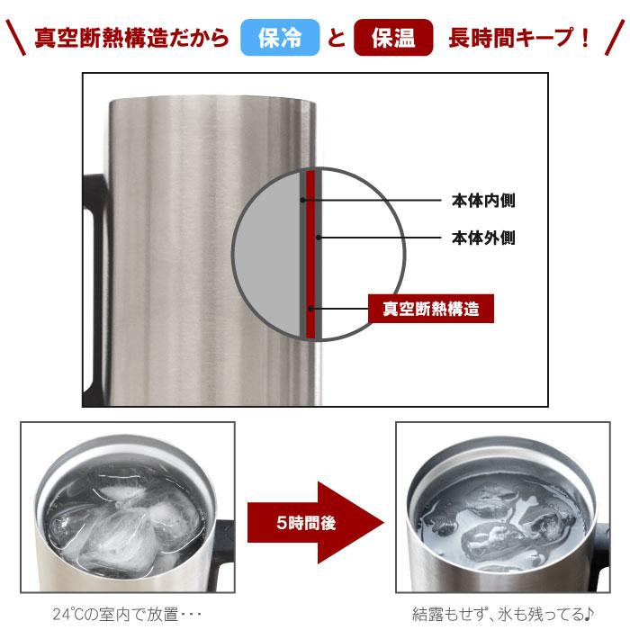 真空断熱構造だから保冷と保温長時間キープ