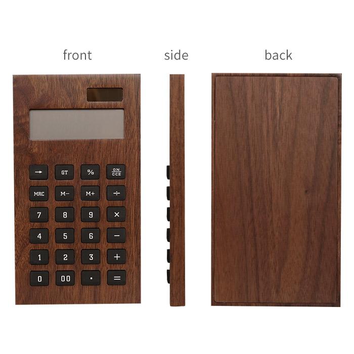 【名入れOK!木製電卓】の正面、側面、背面の写真