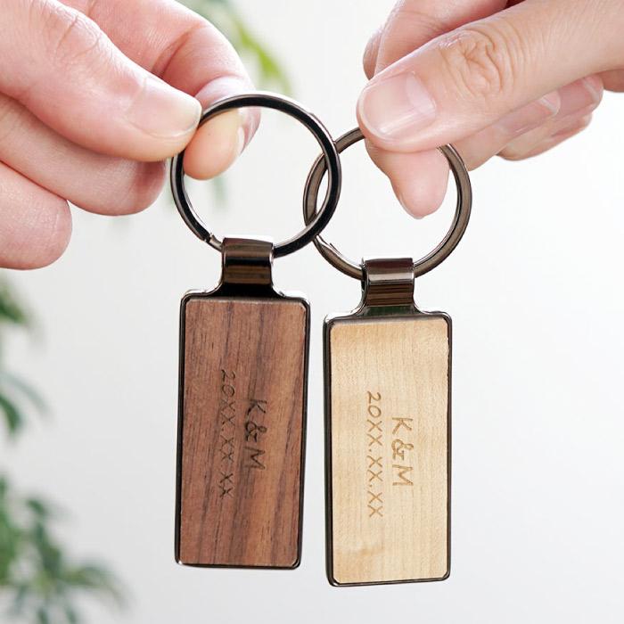 木製キーリング、ペア