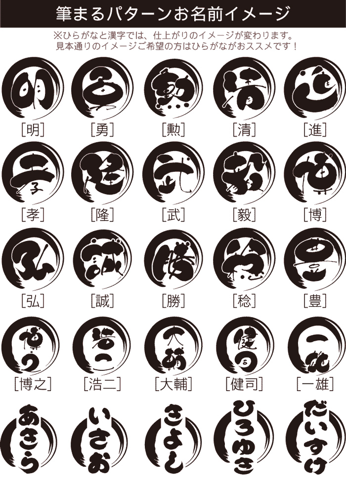 筆まるパターンお名前イメージ