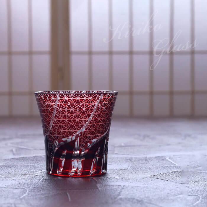 【切子グラス 菊つなぎ模様 単品】の写真